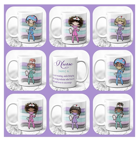 "Nurse Definition Mug Sublimation Design Template includes 8 PNG templates in 300 dpi and light and dark skin tones, Mug Sublimation Template design 8.65"" X 3.87"""
