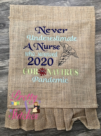 Underestimate A Nurse Word Art Embroidery Design, includes 7 sizes 4X4, 5X5, 6X6, 7X7, 8X8, 9X9 and 10X10
